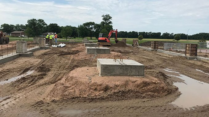 The south patient wing is ready for foundation walls.
