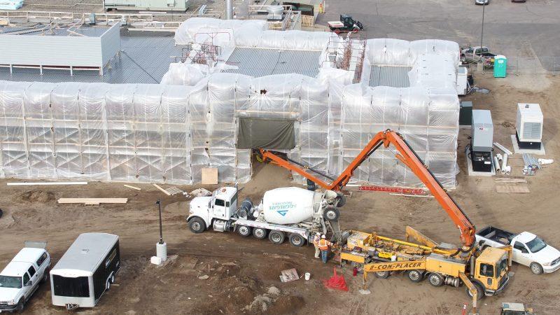 Pouring concrete foundation