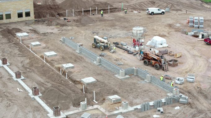 Foundation walls start to go up on the south patient wing.