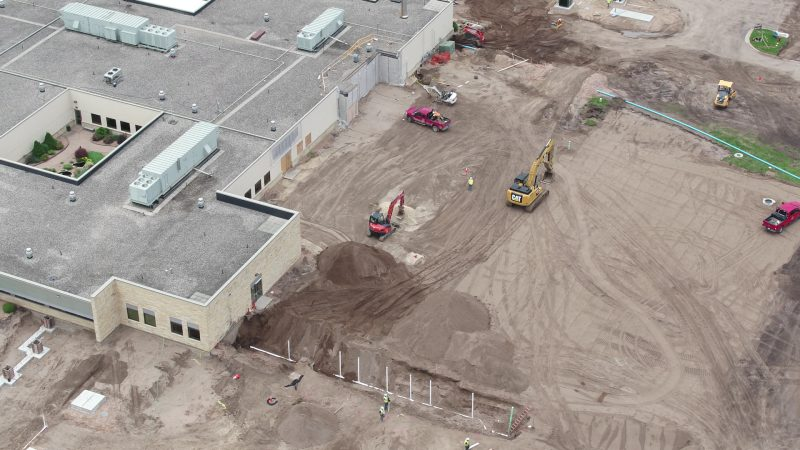 Aerial view of where the new patient wing (east) and new main hospital entrance will be.