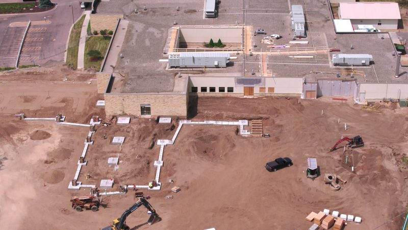 Aerial view of hospital construction