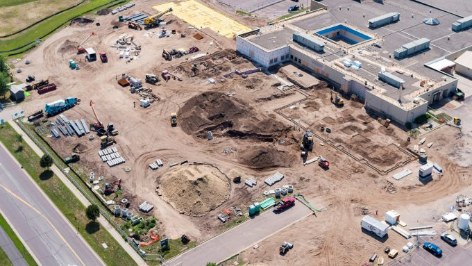 Aerial view of the changing landscape of River's Edge Hospital