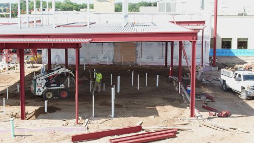 The inside of the east patient wing is being prepped for the concrete slab to be poured.