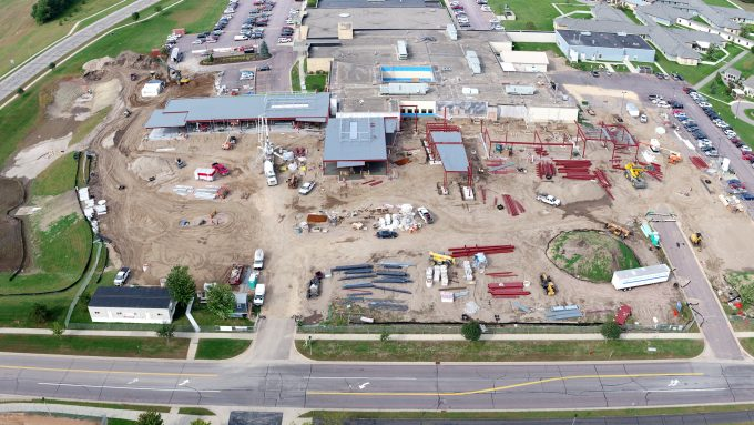 Aerial view River's Edge Hospital construction