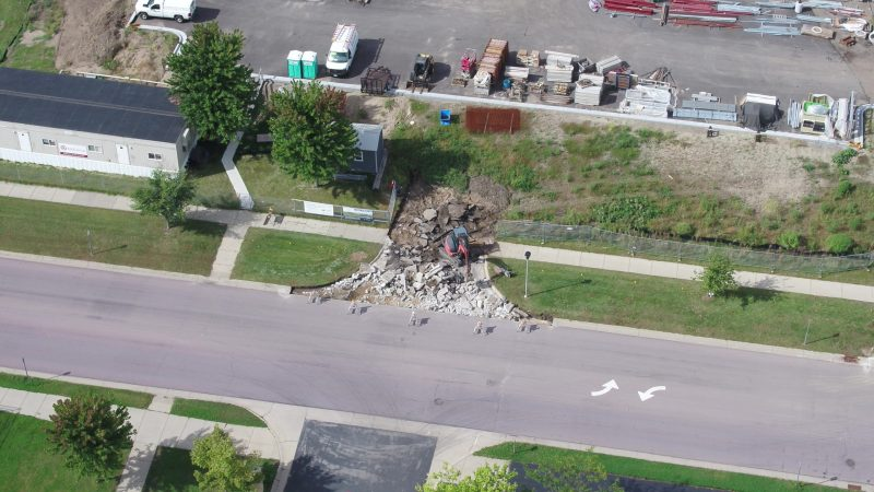 demolition for the new entrance to the hospital.