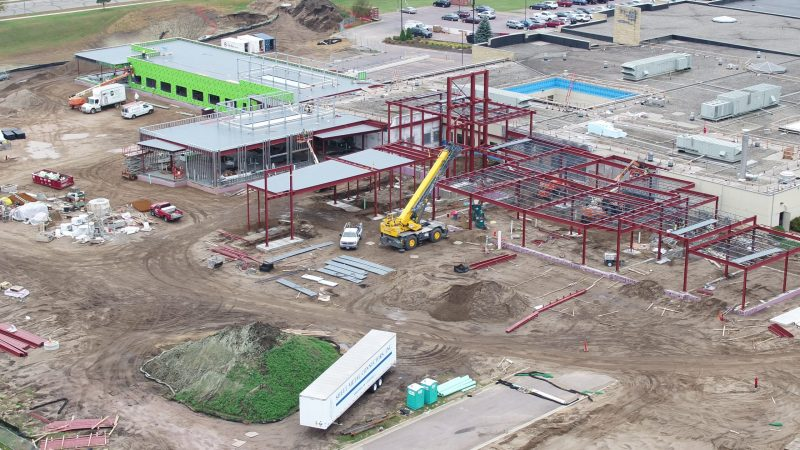 River's Edge Hospital construction- View of main entrance