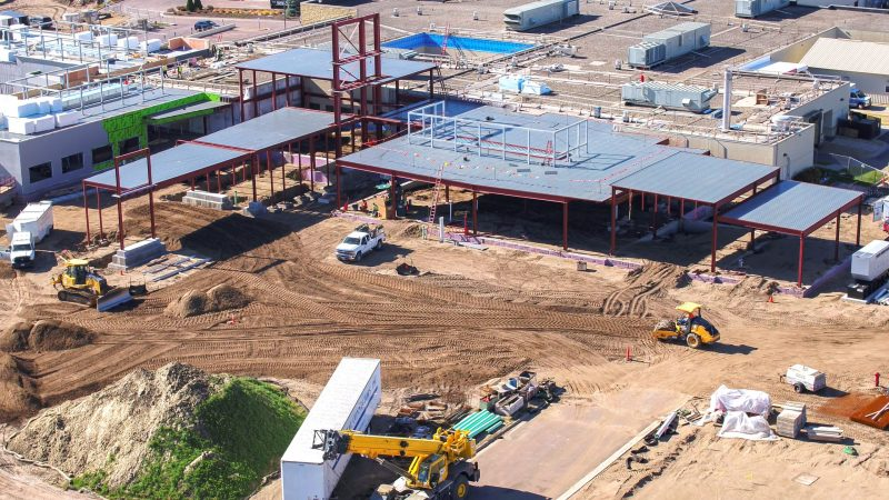 Aerial view of new main entrance and emergency department