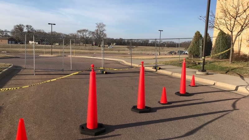 Cones blocking cars from the Emergency Department going south to the Sunrise Entrance