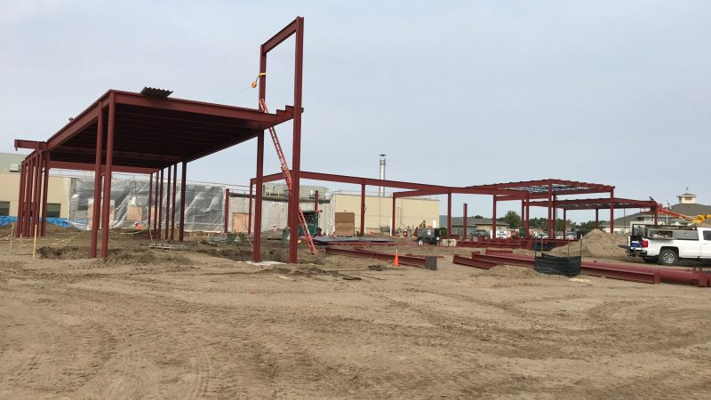 Steel framing of the main entrance, canopy, emergency room, and ambulance garage
