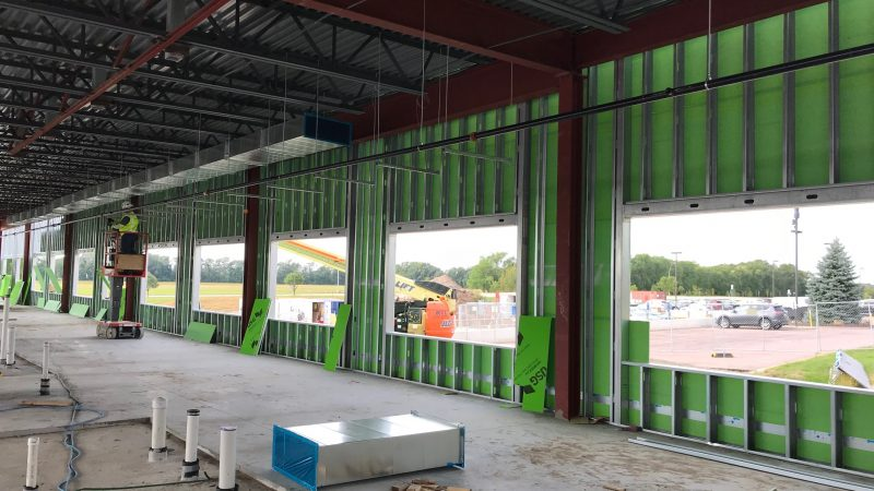 The south patient wing getting some exterior walls.