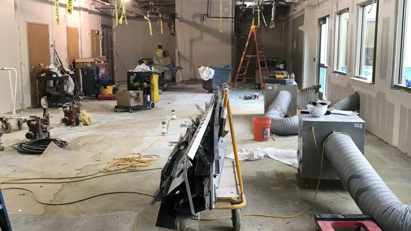 Demolished old patient rooms